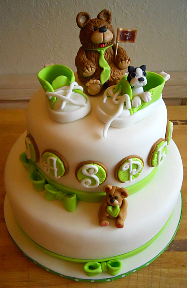 Teddy Bear, Baby Shoes, Baby Shower Cake, Boston Terrier, Green, Baby